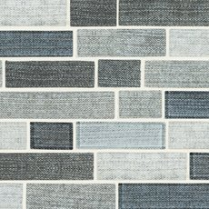 Worn Denim Linear Recycled Glass Mosaic