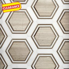 Clearance! Thassos Valentino Framed Hexagon Marble Mosaic
