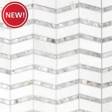 New! Thassos Mother of Pearl Chevron Marble Mosaic