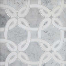 Bianco Carrara Thassos Whimsy Waterjet Marble Mosaic