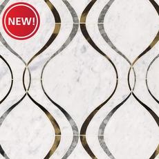New! Viviano Marmo Medusa Bianco Carrara Mirror Water Jet Marble Mosaic