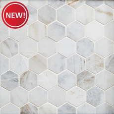 New! Bianco Orion Hexagon Polished Marble Mosaic
