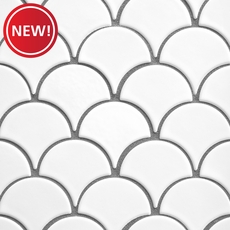 New! White Fan Porcelain Mosaic