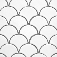 White Fan Porcelain Mosaic