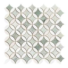 Caribbean Green Thassos Tulip Polished Marble Mosaic