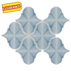 Clearance! Ice Blue Arabesque Polished Porcelain Mosaic