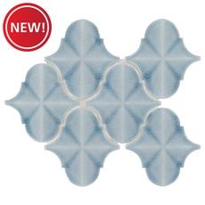 New! Ice Blue Arabesque Polished Porcelain Mosaic