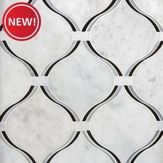 New! Lyra Carrara Nero Polished Water Jet Marble Mosaic
