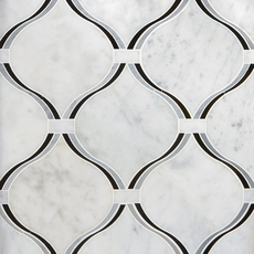 Lyra Carrara Nero Polished Water Jet Marble Mosaic