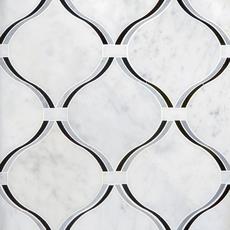 Lyra Carrara Nero Polished Waterjet Marble Mosaic