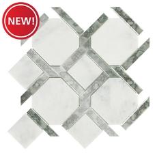 New! Seville Bianco Carrara Mirror Water Jet Marble Mosiac