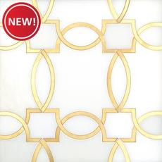 New! Phoenix Royal White Brass Water Jet Marble Mosaic
