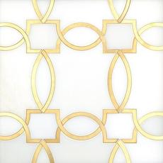 Phoenix Royal White Brass Water Jet Marble Mosaic