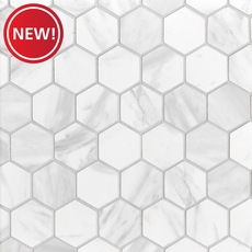 New! Volakas Polished Hexagon Porcelain Mosaic