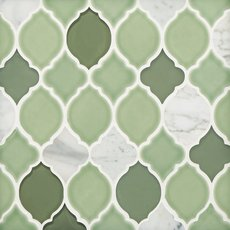 Vine Lantern Porcelain Glass and Marble Mosaic