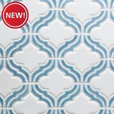 New! Sea Blue Frame Arabesque Porcelain Mosaic