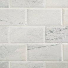 Corazzo White Beveled Polished Marble Tile
