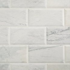 Corazzo White Beveled Polished Marble Tile