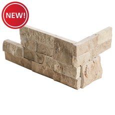 New! Roman Beige Split Face Travertine Corner Panel Ledger