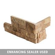 Roman Beige Splitface Travertine Corner Panel Ledger