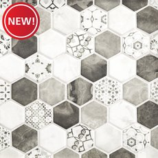 New! Chateau Ash 2 in. Hexagon Recycled Glass Mosaic