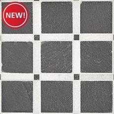 New! Black and White Forum Honed Slate Mosaic