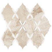Crema Royal Thassos Trellis Polished Marble Mosaic