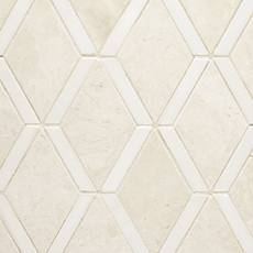 Santorini White and Dolomite Diamond Mosaic