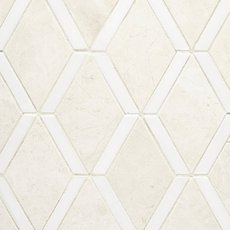 Santorini White and Dolomite Diamond Mosaic