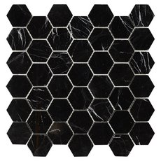 Sable Black Hexagon Polished Marble Tile