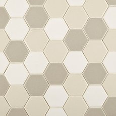 Unglazed Creme Blend 2 in. Hexagon Porcelain Mosaic