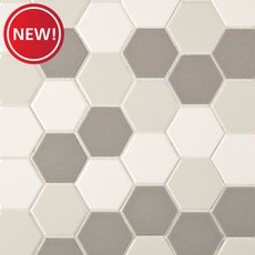 New! Unglazed Light Blend 2 in. Hexagon Porcelain Mosaic