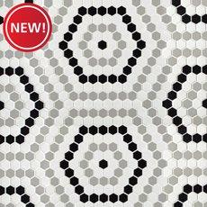 New! Retro 1 in. Hexagon Porcelain Mosaic
