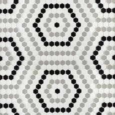 Retro 1 in. Hexagon Porcelain Mosaic