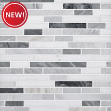 New! Dove Gray and White Polished Linear Marble Mosaic