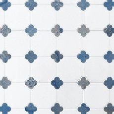 Thassos Azul Macaubas Clover Marble Mosaic