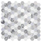 Blue Celeste Bianco Carrara and Thassos Mosaic