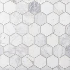 Volakas 2 in. Hexagon Honed Marble Mosaic