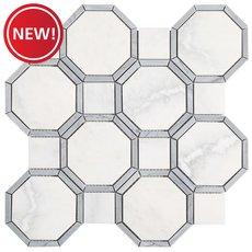 New! Gables Plateau White Bardiglio Marble Mosaic