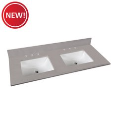 New! Bromely Gray Marble 61 in. Vanity Top
