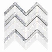 Heron Gray Chevron Honed Marble Mosaic