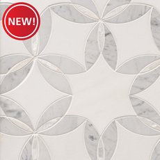 New! Dahlia Thassos Mother of Pearl Waterjet Mosaic