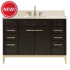 New! Hepburn 49 in. Vanity with Crema Marfil Marble Top