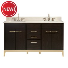 New! Hepburn 61 in. Vanity with Crema Marfil Marble Top