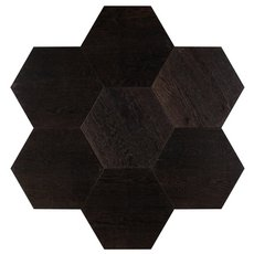 Midtown Dark Oak Wire-Brushed Hexagon Engineered Hardwood