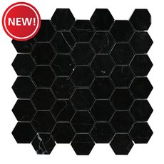 New! Nero 2 in. Hexagon Polished Marble Mosaic