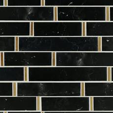 Nero Brass Linear Marble Mosaic