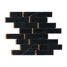 Nero Brass Linear Marble Mosaic