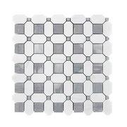 Dolomite Basket Weave Polished Marble Mosaic