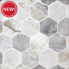 New! Calacatta Bluette 3 in. Hexagon Polished Marble Mosaic